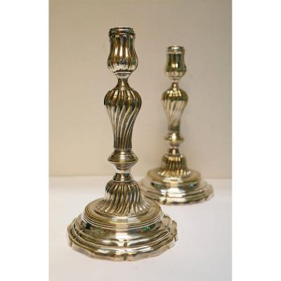 Pair Of Candlesticks Bronze Bronze 18th