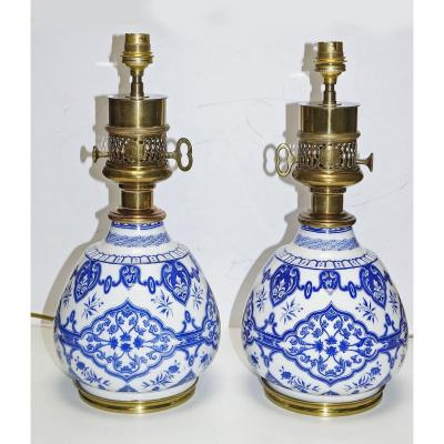 Pair Of Old Electrified Oil Lamps, Stamped Gagneau