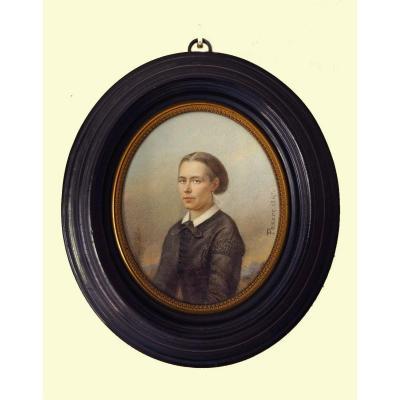 Miniature Portrait d'Une Dame De Qualité Par Passot 1867