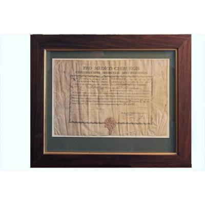 Diplôme De Doctorat  En Médecine De l'Université De Montpellier 1785