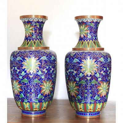 Pair Of Cloisonne Vases China Late 19th