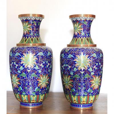 Paire De Vases En Cloisonné Chine Fin 19ème