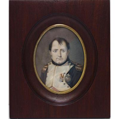 Miniature Drawing Enhanced Portrait Of Napoleon 1st Signed Isabey