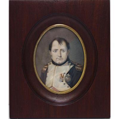Dessin Miniature Rehaussé  Portrait De Napoléon 1er Signé Isabey