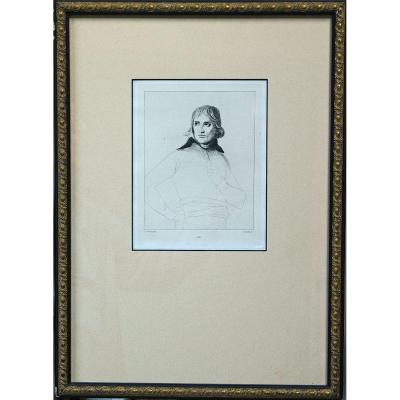 Lithographie Portrait De Napoléon Bonaparte d'Après David 19ème