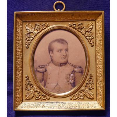 Dessin Rehaussé  Portrait De Napoléon 1er Signé Bordes