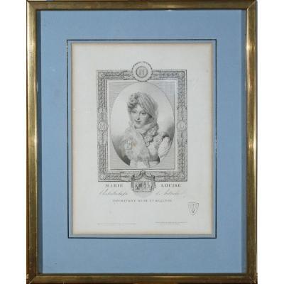 Lithographie Portrait De l'Impératrice Marie Louise 19ème