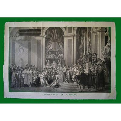 """Lithographie """"Couronnement de Napoléon"""" d'Après Jacques Louis David + lithographie nominative"""
