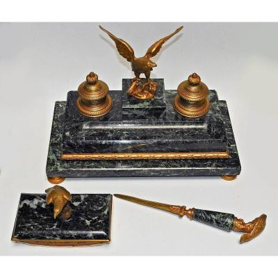 Empire Style Bronze And Sea Green Marble Desk Kit