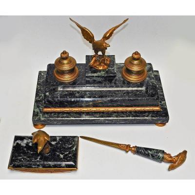 Nécessaire De Bureau En Bronze Et Marbre Vert De Mer Style Empire