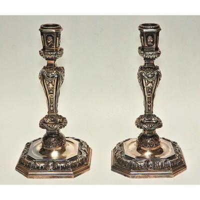 Paire De Flambeaux Bronze Argenté Style Régence