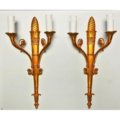 Paire d'Appliques En Bronze Doré 19-20 ème