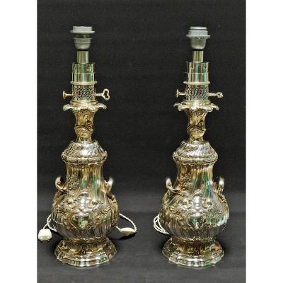 Grande Paire De Lampes à Huile En Bronze Argenté Signées Gagneau