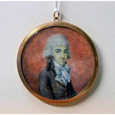 Miniature Portrait De Gentilhomme En Redingote Et Foulard Signée Jb Greuze