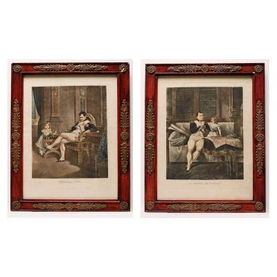 """Paire de lithographie """"Napoléon et son fils""""  époque Empire"""