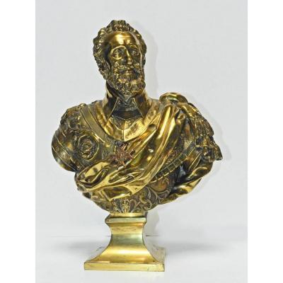 Buste d'Henri IV En Bronze d'Après Barthélémy Tremblay 19 ème