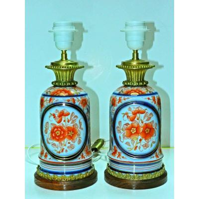 Pair Of Bayeux Porcelain And Bronze Lamps 19th