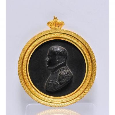Profil De Napoléon 1er Médaillon En Bronze Doré Et Patiné