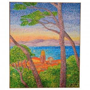 Oil On Canvas View Of Saint Tropez 20th
