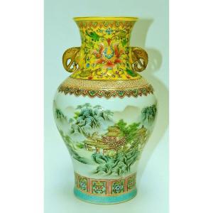 Vase En Porcelaine De Chine Marque Qianlong