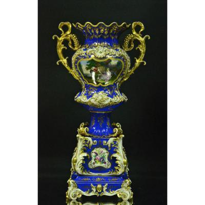Grand Vase En Porcelaine De Paris Signé Jacob Petit