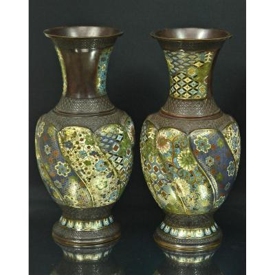 Great Pair Of Bronze Vases Chinese Cloisonné 19th