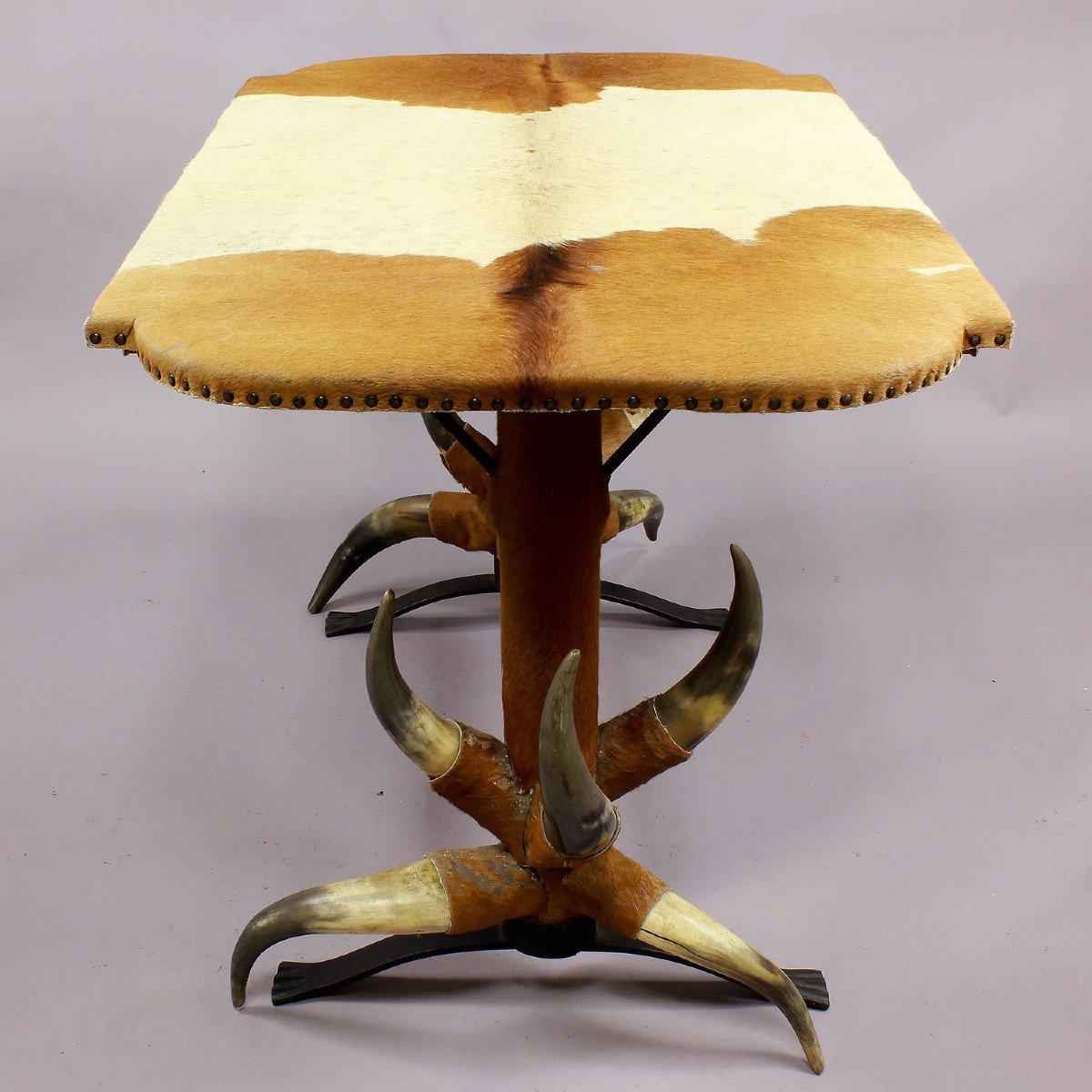 Table Antique En Corne De Taureau Ca. 1870-photo-4