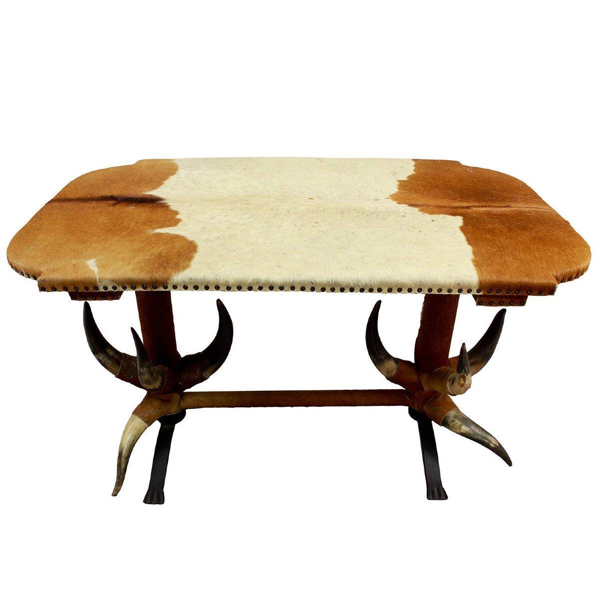 Table Antique En Corne De Taureau Ca. 1870