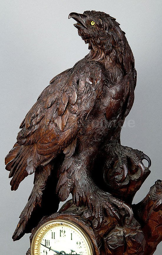 Ancienne Horloge De Cheminée En Bois Avec Aigle, Suisse 1900-photo-3
