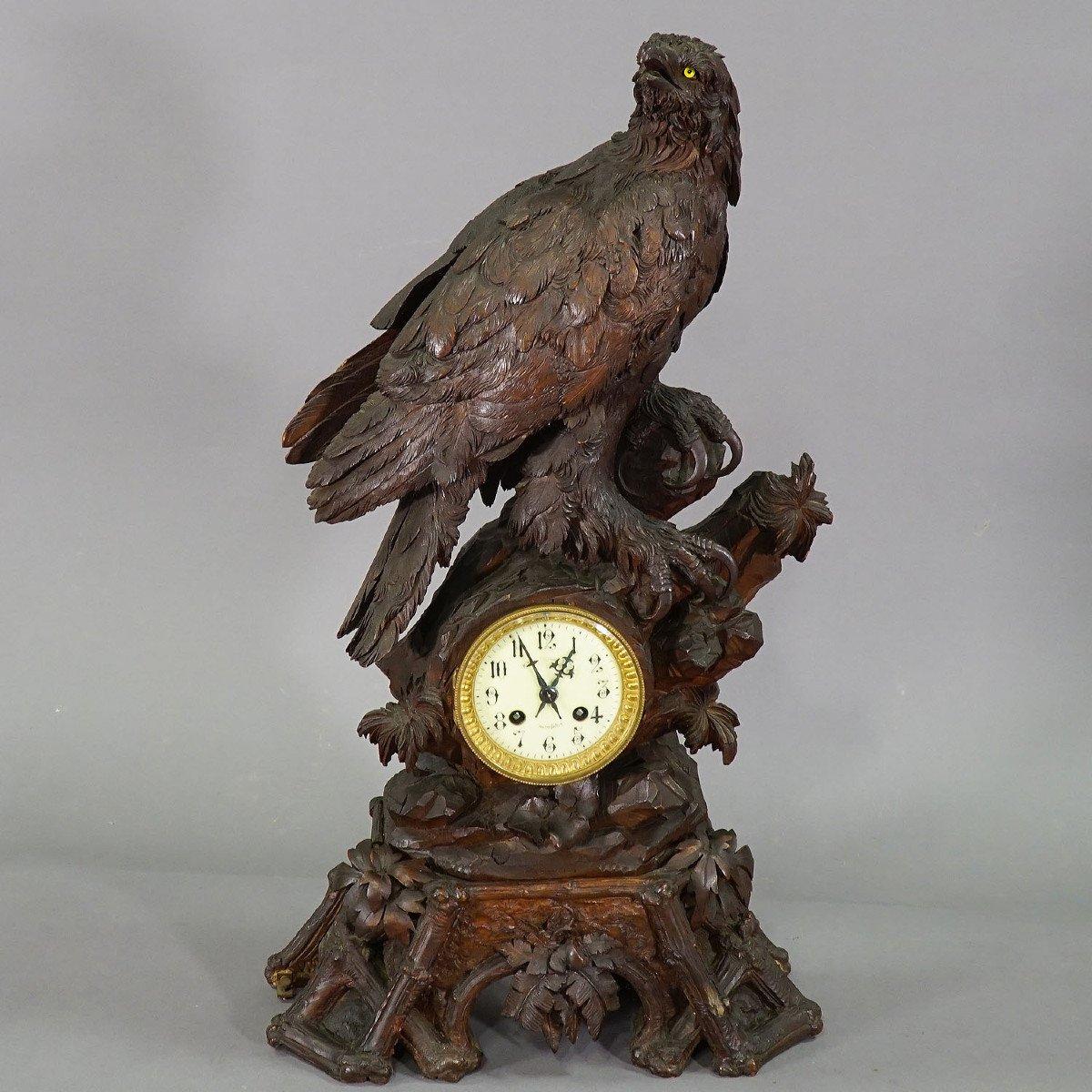 Ancienne Horloge De Cheminée En Bois Avec Aigle, Suisse 1900-photo-4