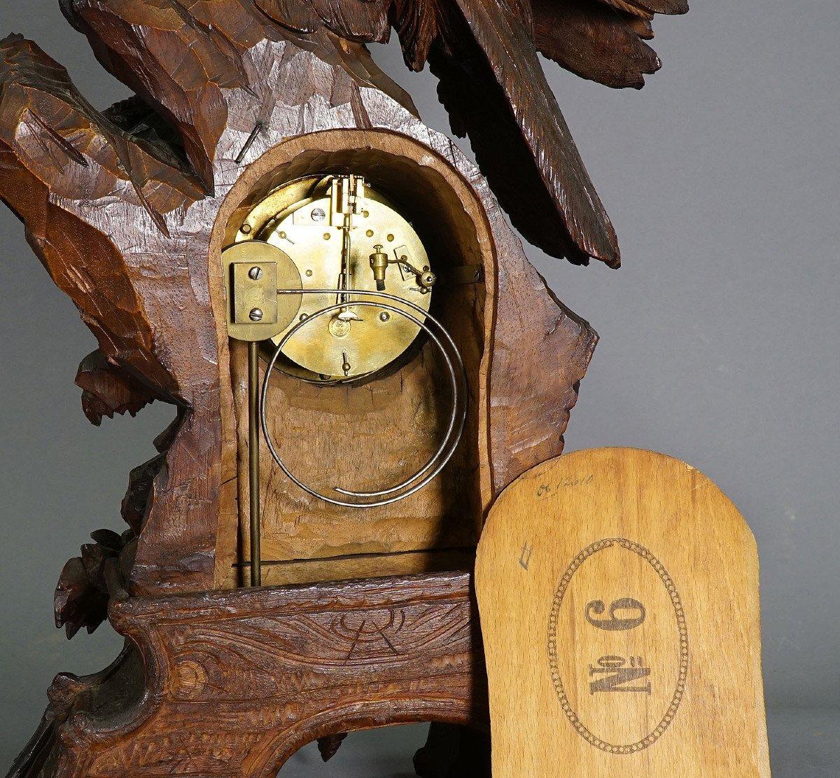 Ancienne Horloge De Cheminée En Bois Avec Aigle, Suisse 1900-photo-2