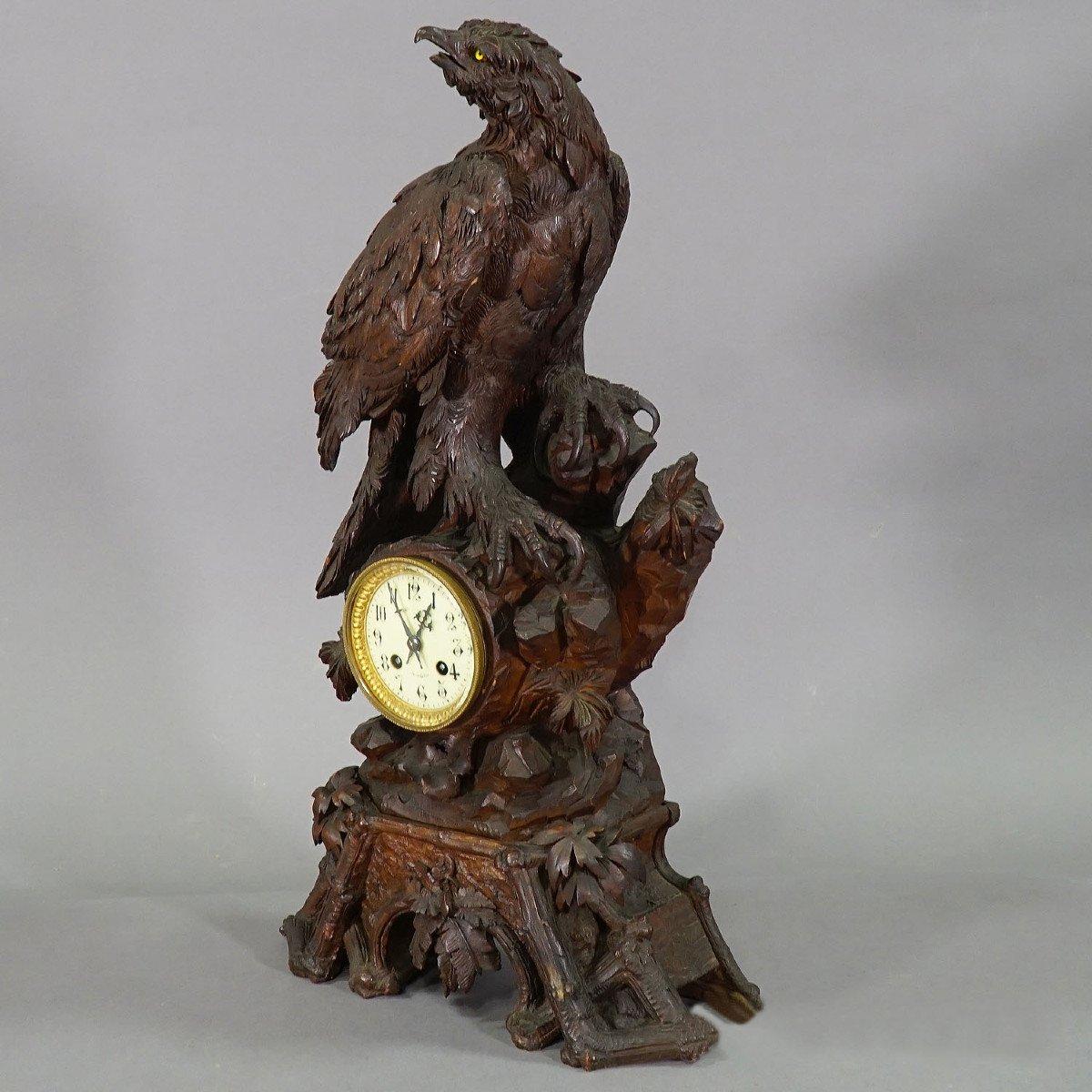 Ancienne Horloge De Cheminée En Bois Avec Aigle, Suisse 1900-photo-5