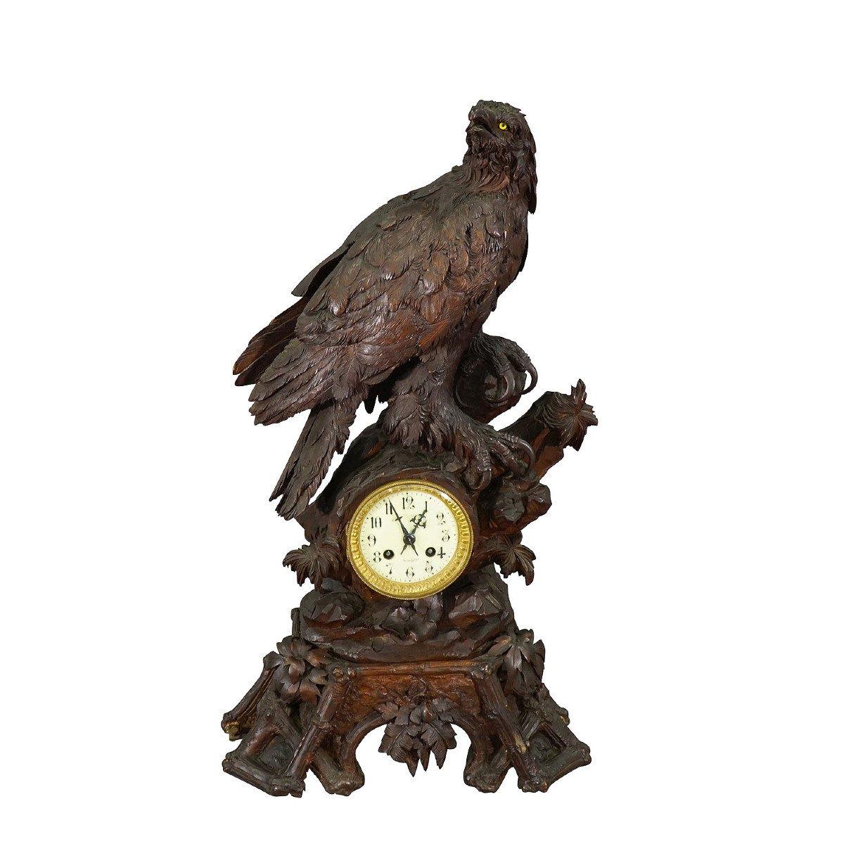 Ancienne Horloge De Cheminée En Bois Avec Aigle, Suisse 1900