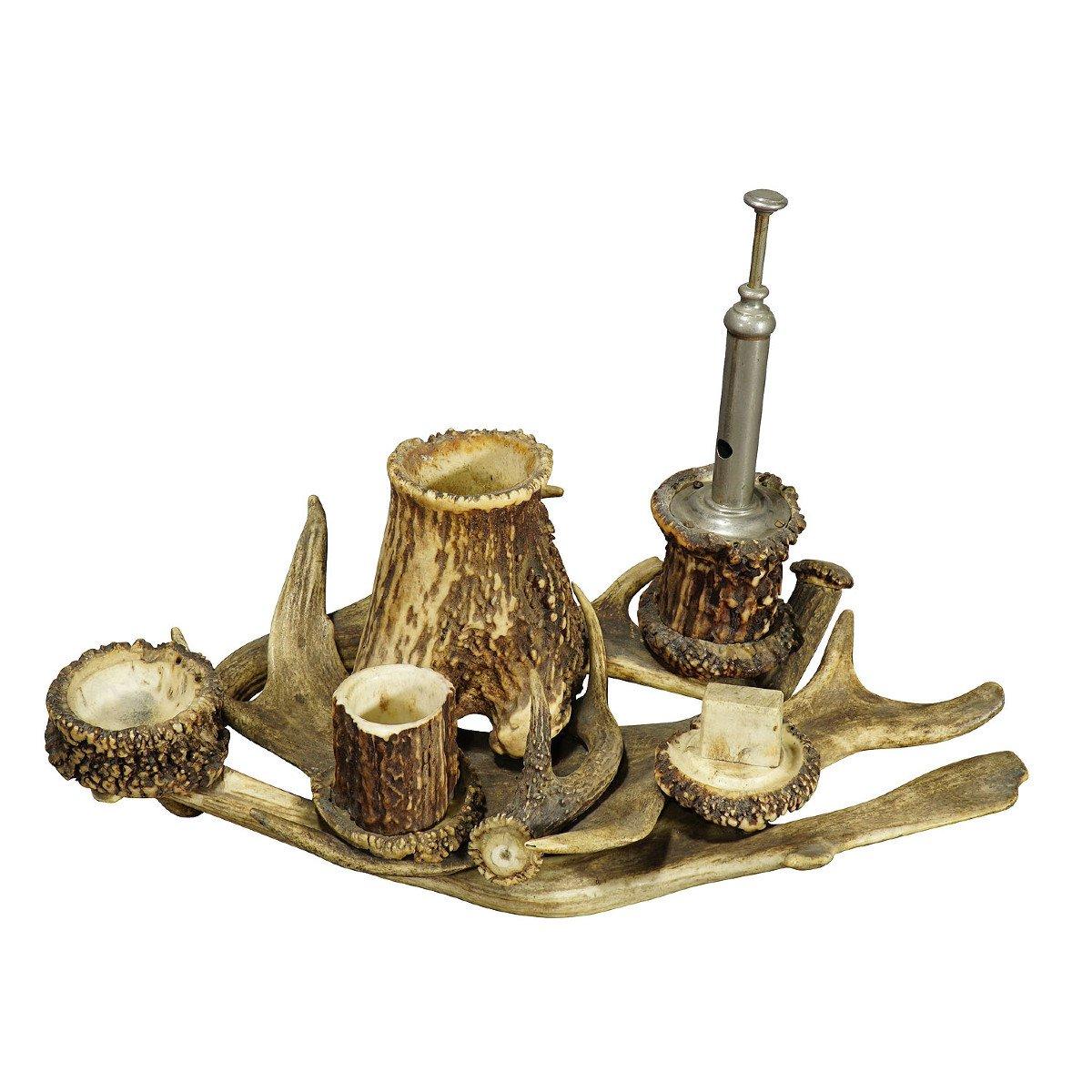 Ensemble De Bureau Antique En Bois De Cervidé Pour Fumeur Ca. 1900