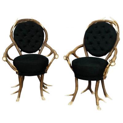 paire de fauteuils de salon en bois de cerf, français vers 1860