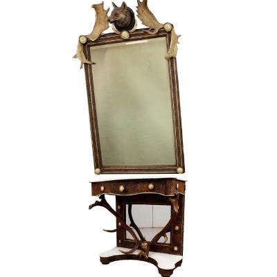 Miroir Antique En Bois De Cerf Avec Table Console, Autriche, Vers 1860