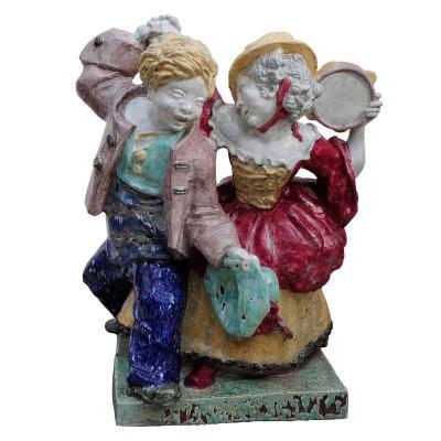 Sculpture En Porcelaine De Nymphenburg : Couple Dansant Par Josef Wackerle