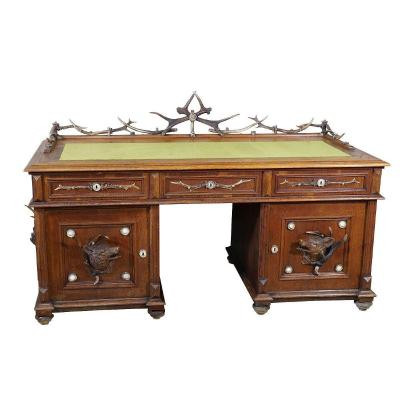 Large Oak Wood Desk With Antler Decorations By Rudolf Brix 1900