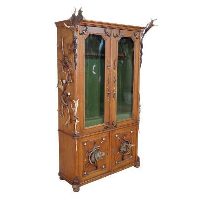 Large Black Forest Antler Gun Cabinet Ca. 1900