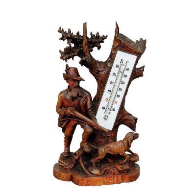 Support De Thermomètre En Bois Finement Sculpté Hunter Et Staghound 1910