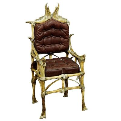 Large Wacky Bull Bone Throne Chair Ca. 1930