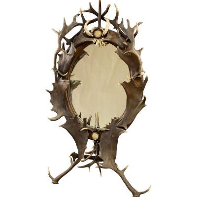 Large Antique Antler Standing Mirror, Germany Ca. 1890