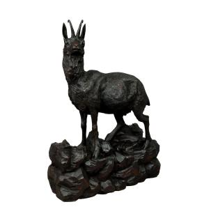 Large Chamois Sculpture In Carved Wood, Black Forest Ca. 1900