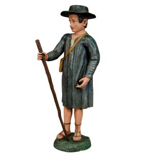 Antique Wooden Carved Crib Figurine Of A Shepherd