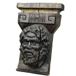 Sculpture En Bois d'Un Visage Masculin