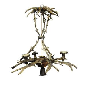Classy Antique Black Forest Antler Chandelier