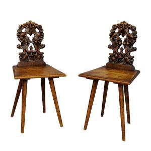 Pair Of Carved Children's Chairs In Renaissance Style Around 1890