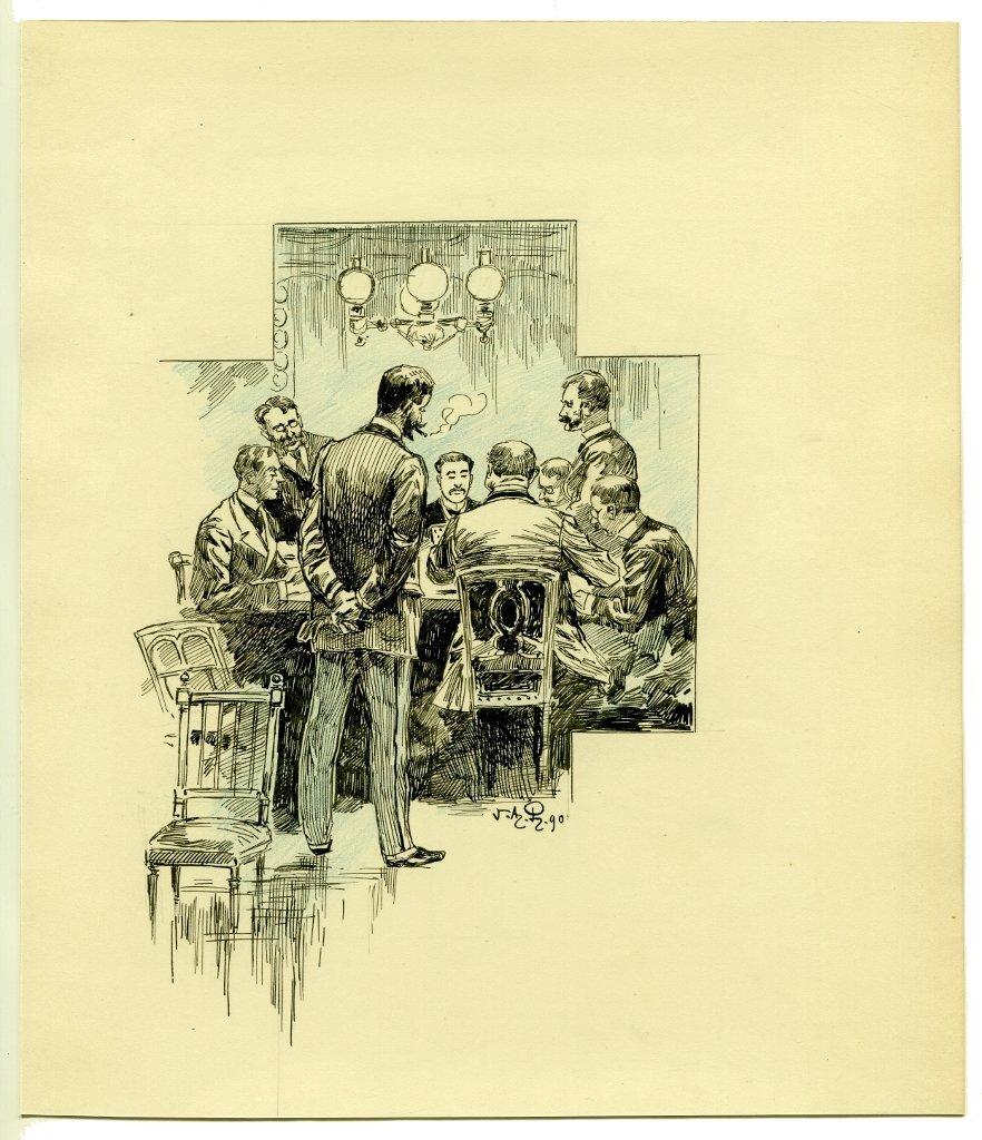 La partie de poker - Dessin original de Victor Armand POIRSON (1858-1893)