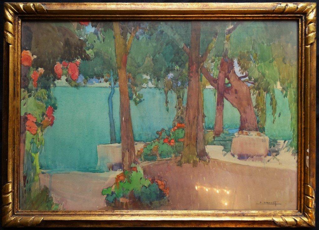 Auguste DROUOT (1881-1955) - Bord de lac - Aquarelle originale