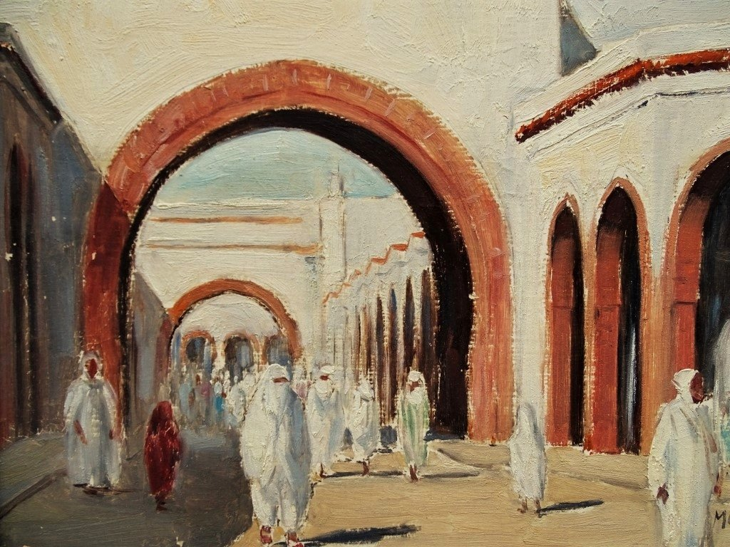 Busy Street In North Africa - Orientalist Painting